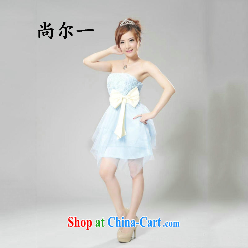 There is a summer new bride bridesmaid clothing short, small dress shaggy skirts dresses etiquette service performance 6502 blue are code