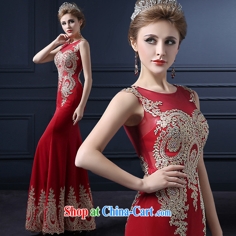 Yarn edge 100, wedding dresses 2015 spring and summer new bride toast serving Korean dress graphics thin package and annual ball dress luxurious red long banquet service deep red advanced customization