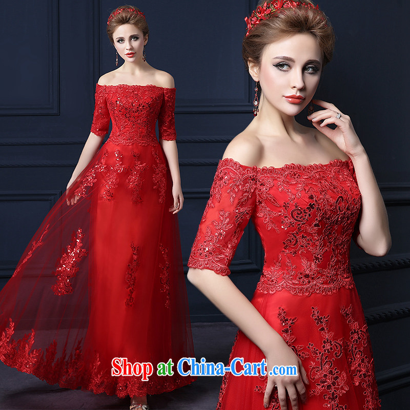 Yarn edge 100, wedding dresses new 2015 summer field shoulder Korean lace evening dress bride wedding toast clothing stylish sweet performance service banquet service bridesmaid clothing red L