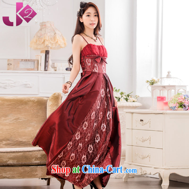 JK 2 2015 summer new stylish evening dinner show long dress XL straps dress wine red XXXL 175 recommendations about Jack