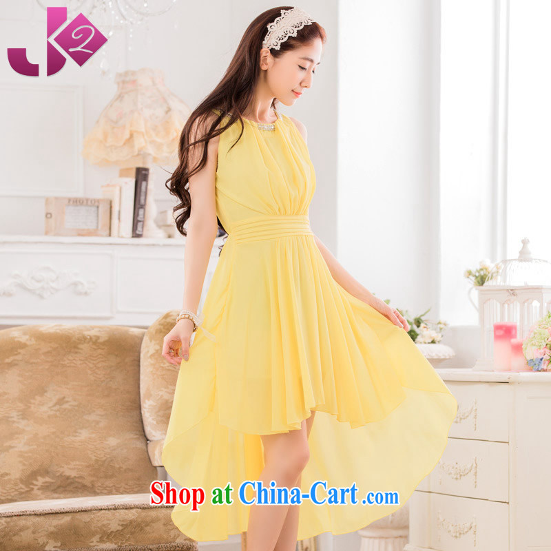 JK 2 2015 new front short long Tuxedo sweet graphics thin the dress code dress sleeveless ice woven dresses yellow XXXL 170 recommendations about Jack