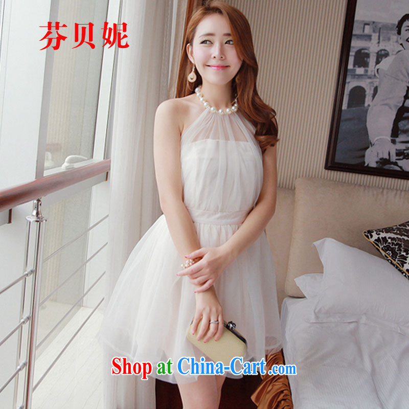 ADDIS ABABA, Connie 2015 new sweet girl with pearl-also exposed the princess shaggy Web yarn covered shoulders small dress dresses F 4502 white S