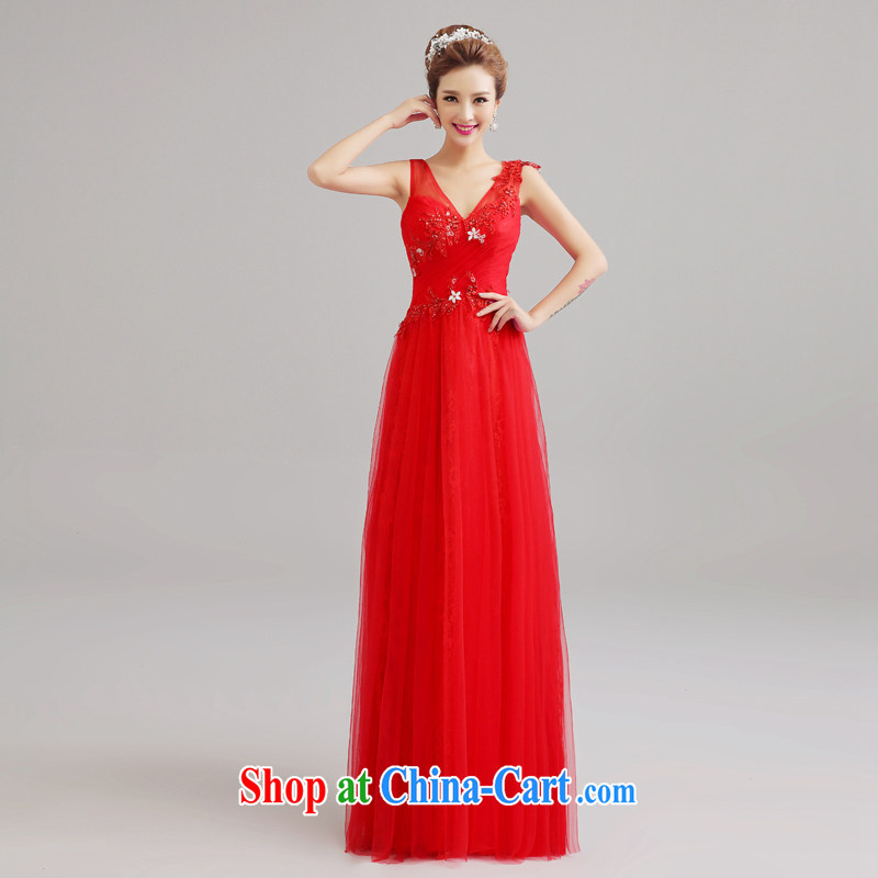 Connie focus 2015 spring and summer red wedding double-shoulder bows dress Korean marriage long Graphics thin wedding dress lace Evening Dress red tailored final