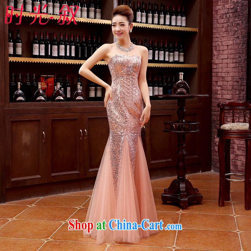 Time his 2015 new crowsfoot sexy evening dress bridal wedding red bare chest long serving toast moderator performance service bare pink XXL