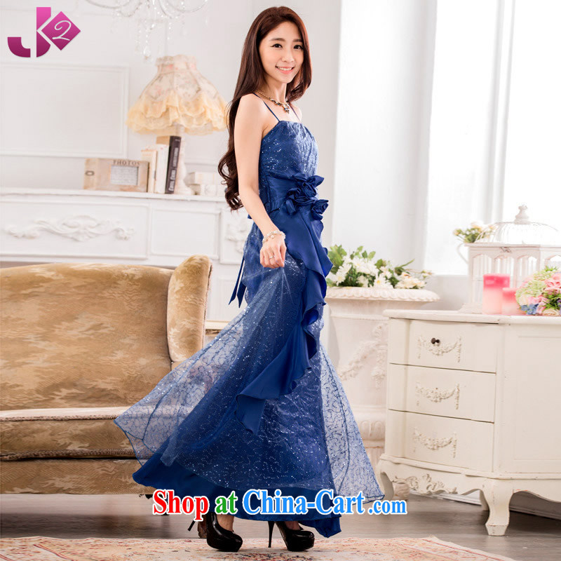 JK 2 2015 New Solid Color large yards, serving toast the evening performances with sweet straps long skirt dress blue XXXL 175 recommendations about Jack