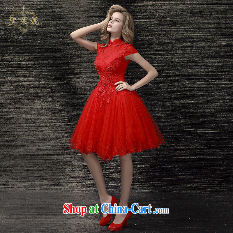 Holy, Connie wedding dresses summer 2015 new Chinese marriages, short dress, the code China wind up collar cheongsam red M