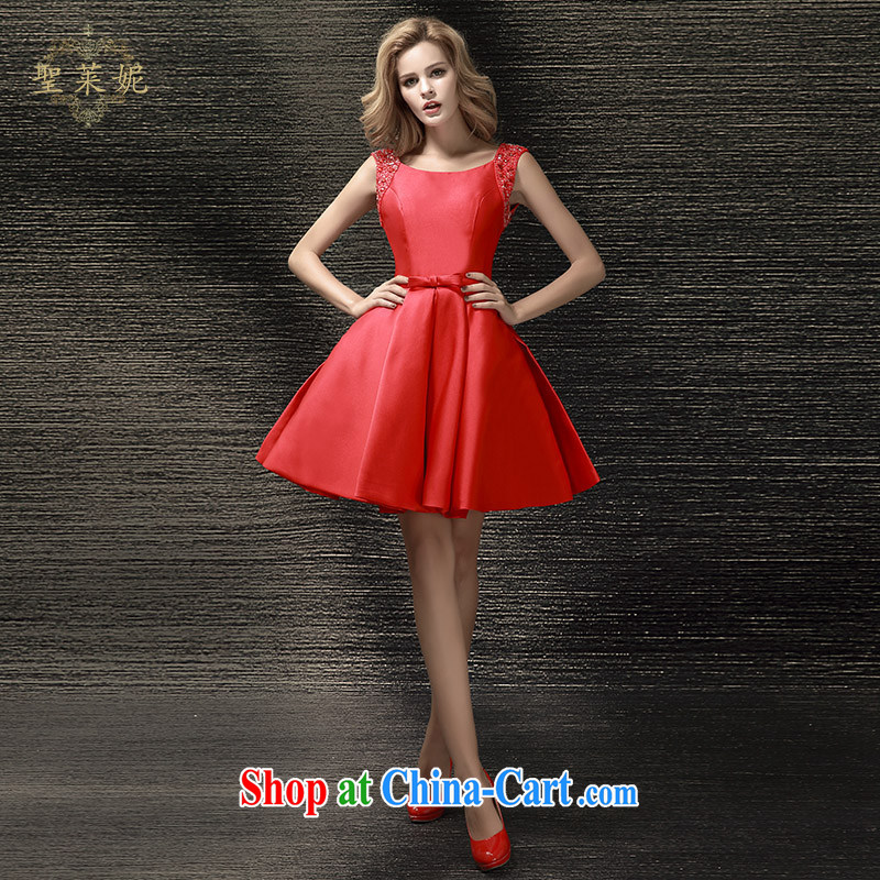 Holy, Connie wedding dresses 2015 summer new bride wedding dress shoulders short red dress uniform toast dress red M