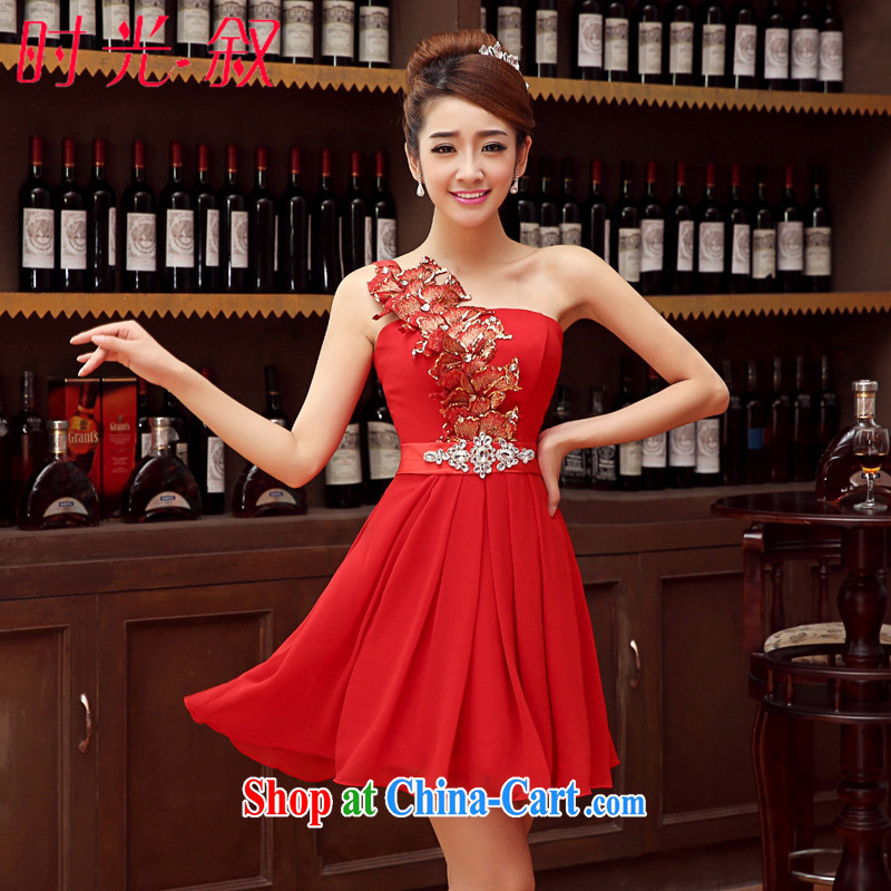 Time Syria 2015 Korean version of red single shoulder small dress bridal wedding dress red toast clothing bridesmaid serving short evening dress banquet evening dress red XXL