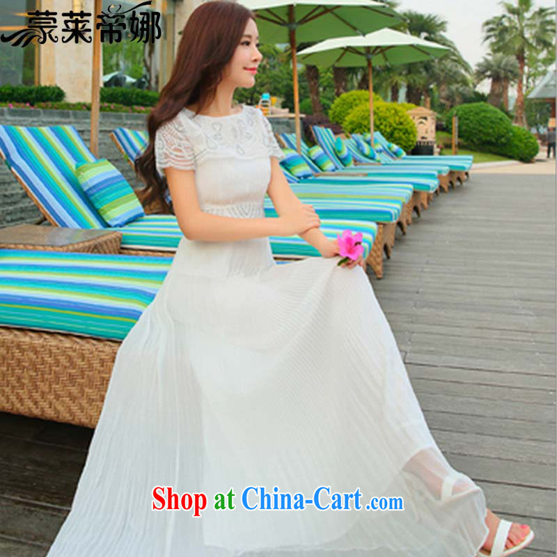 Tony Blair, in Dili, summer 2015 new dress lace embroidered short sleeve white dress with drag and drop 100 hem Evening Dress 8127 white M