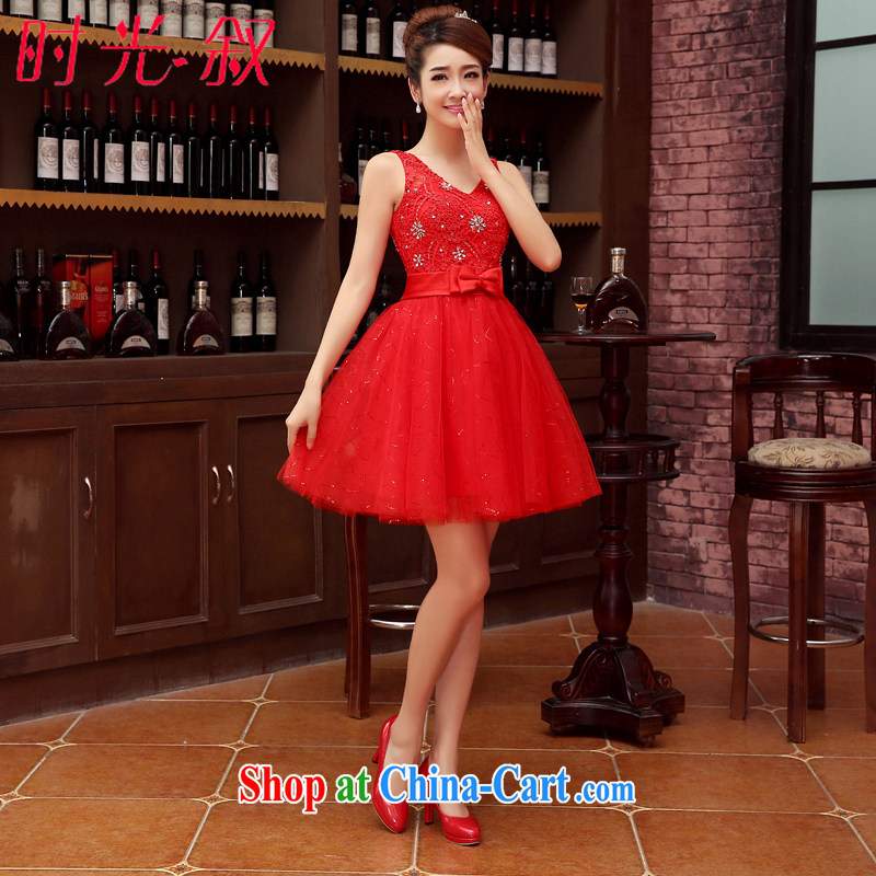 Time his bride toast service 2015 new short red, Korean version shaggy wedding dress shoulders V for wood drilling small wedding dresses bridesmaid dress red XXL