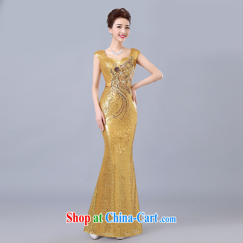 Clothing and love is still bridal toast clothing summer 2015 New Long stylish evening dress banquet Red double-shoulder, evening dress girls gold to make the _30 does not return