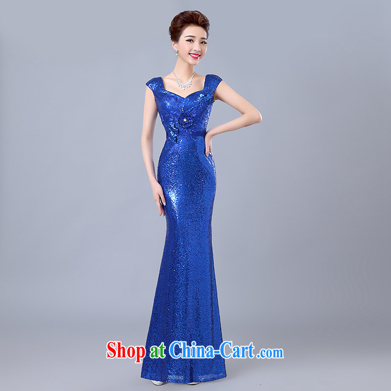 Yi love is wedding dresses 2015 spring and summer new marriages served toast stylish Korean dress banquet shoulders sexy, evening dress girl blue to make the $30 does not return