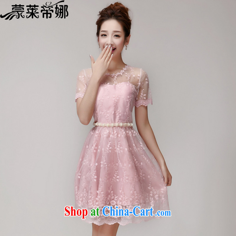 Tony Blair, in Dili, summer 2015 new lace hook flower Openwork Web yarn manually staple Pearl Princess dresses dress skirt 621 pink L