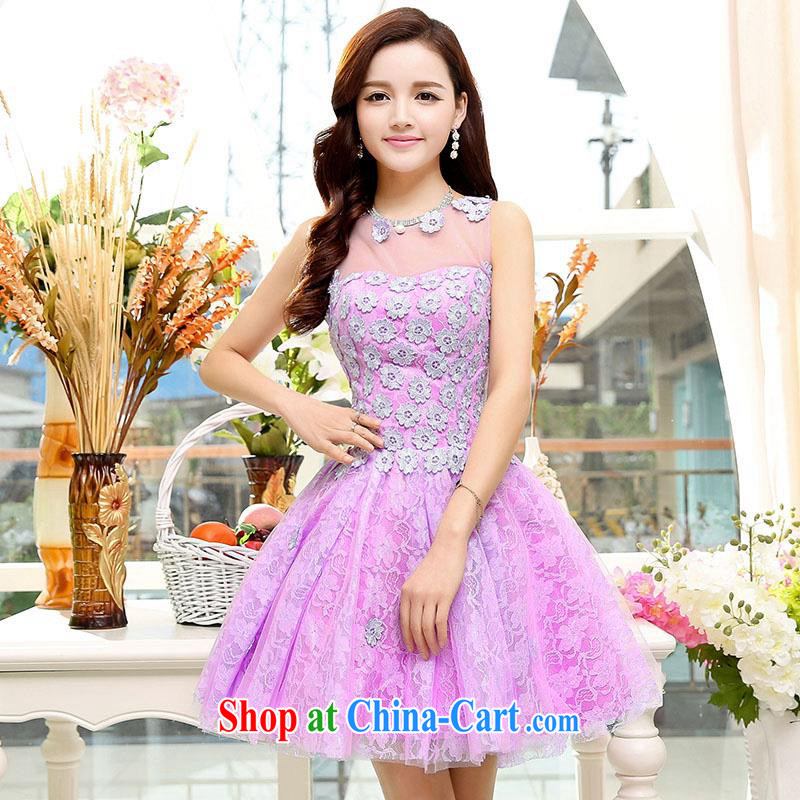 Upscale dress summer 2015 new lace dresses dress sleeveless 100 hem shaggy dress beauty graphics thin Princess skirt banquet etiquette the Paridelles purple skirt S