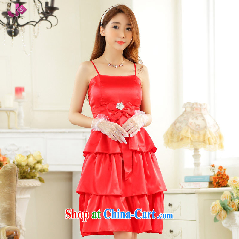 JK 2 2015 new erase chest sweet elegant banquet dress sense of the strap bridesmaid serving the code in red skirts XXXL 175 recommendations about Jack