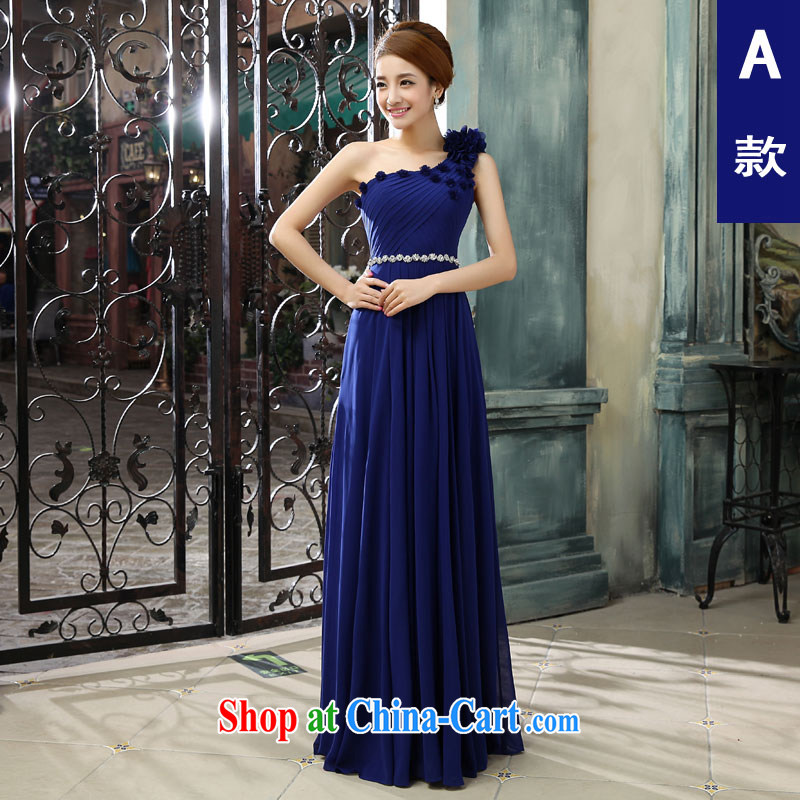 Connie focus 2015 new single shoulder royal blue Evening Dress long dual-shoulder Annual Meeting banquet Summer, Autumn beauty moderator dress female A M paragraph