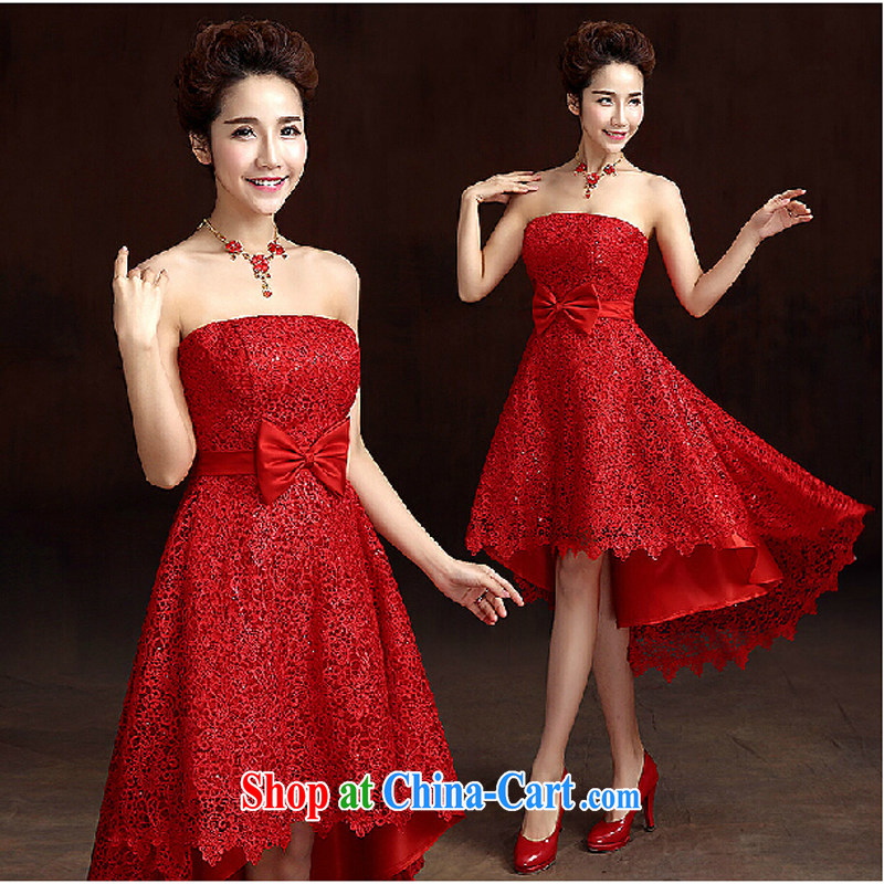 2015 new short red, wipe the chest, pregnant women bridal dresses Toast before serving short long dress spring and summer red tailored contact Customer Service