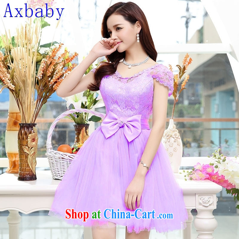 Sunny commuter store summer 2015, bow-tie short small dress bridesmaid dress lace presided over dress apricot XL