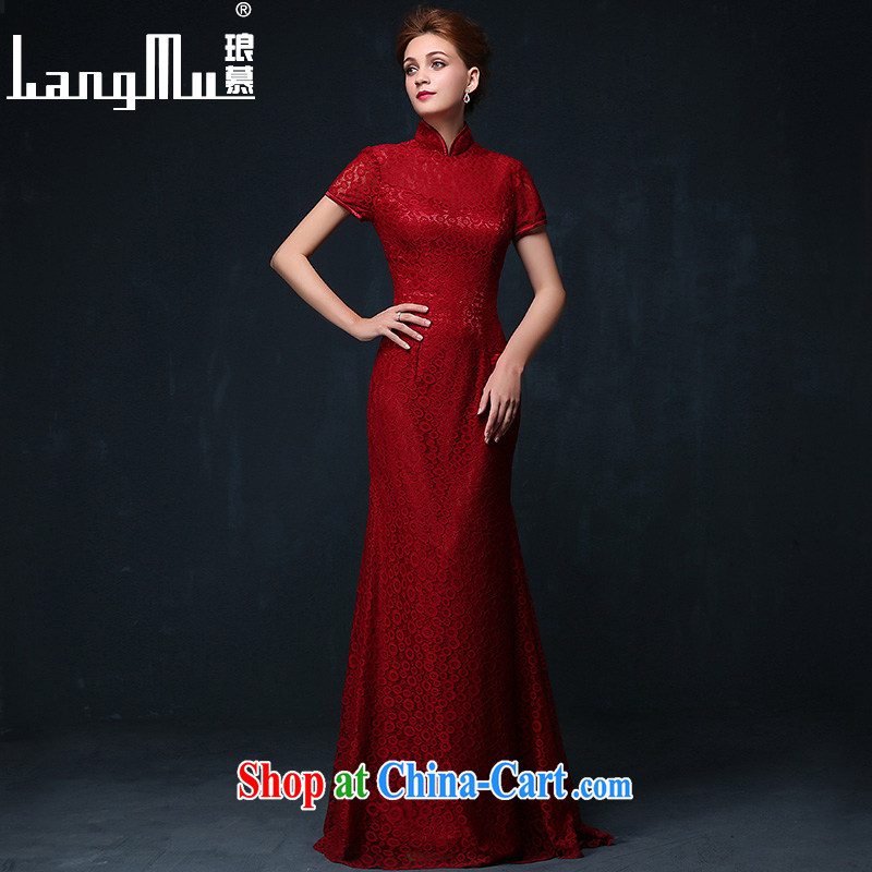 In Luang Prabang in the wedding dresses 2015 new marriages Chinese bows clothes lace long red dress Evening Dress summer wine red XL