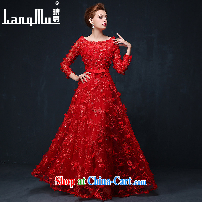 In Luang Prabang in the evening dress 2015 summer and autumn new Korean flower bridal wedding toast service banquet long evening dress dress China Red XL