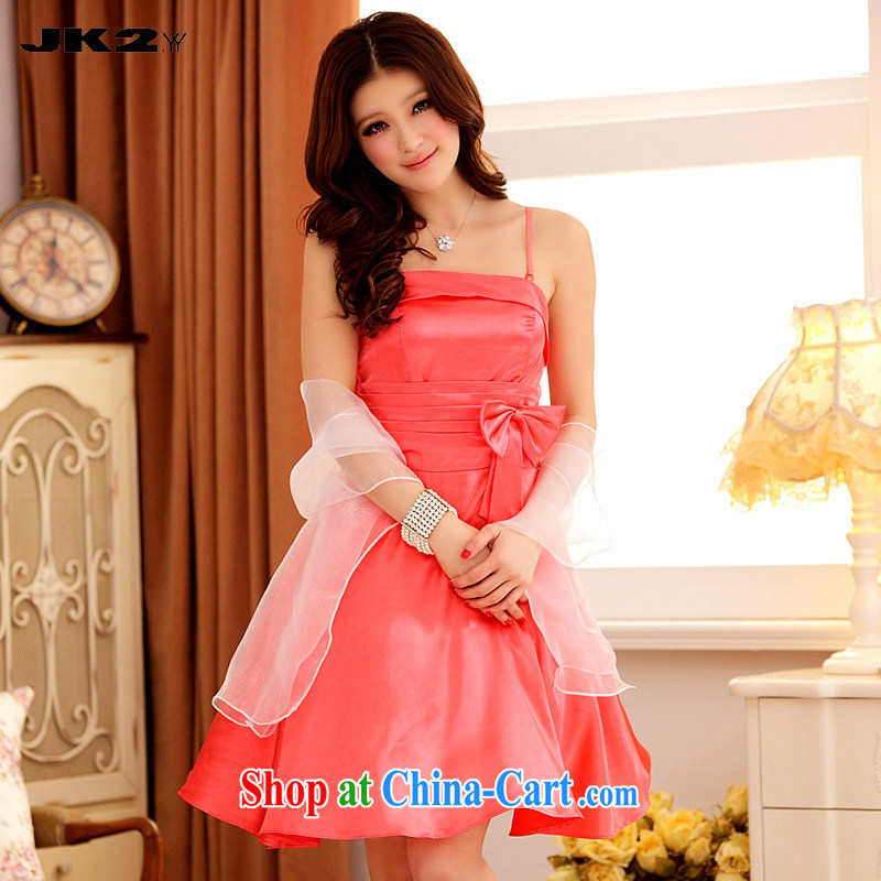 JK 2. YY sweet bare chest straps bridesmaid clothing bow-tie high-waist solid-colored short dress code the dress orange color code