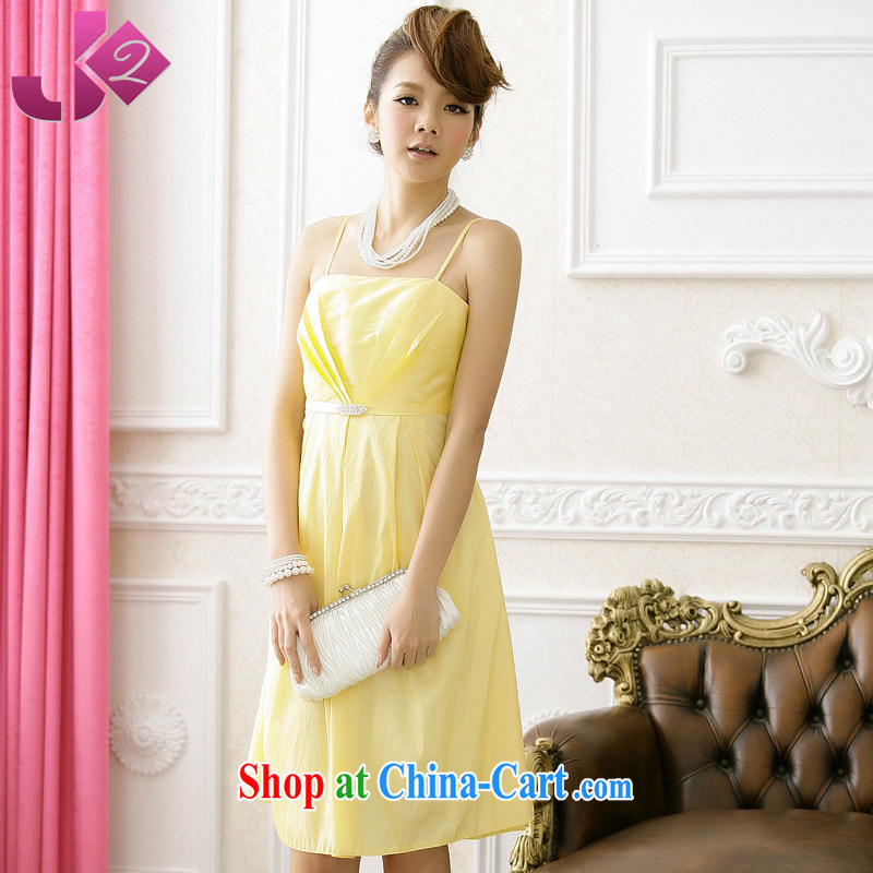 JK 2 2015 summer decoration, graphics thin large code straps short dress dresses sweet simple code Solid Color bridesmaid clothing yellow XXXL 155 recommendations about Jack
