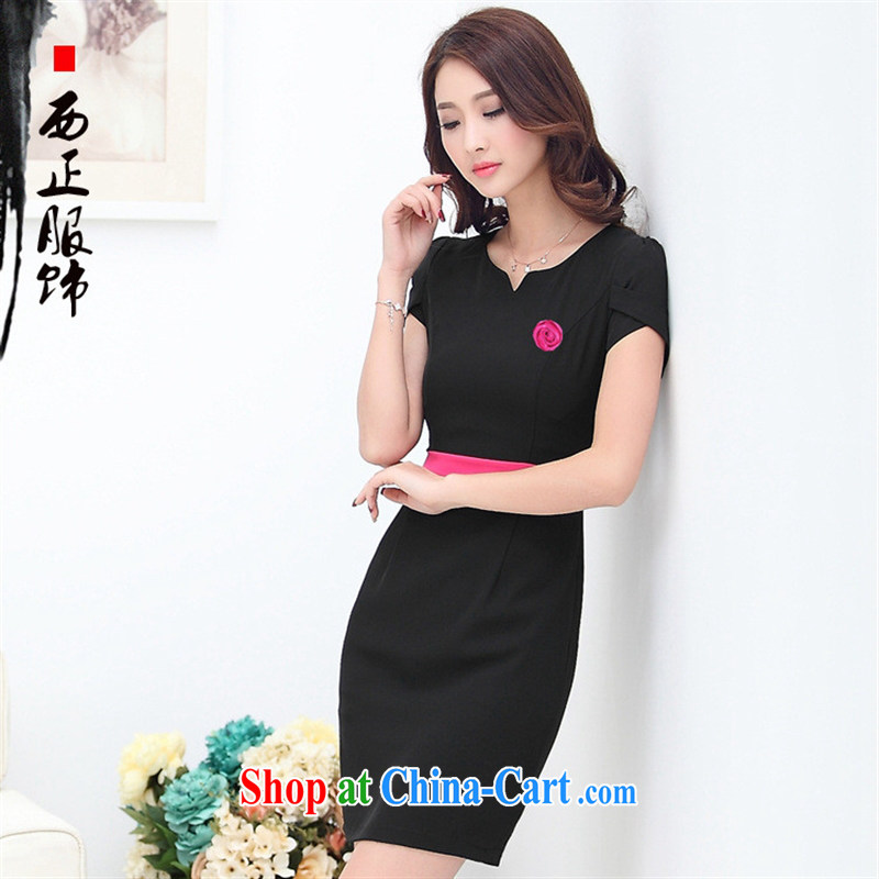 2015 summer new beautician Workwear Workwear dresses beauty salon clothing regimen Museum jewelry uniform black 4XL