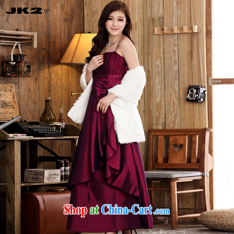 JK 2 elegant bridal toast clothing bow-tie straps dress thick MM long gown Evening Dress Magenta are code