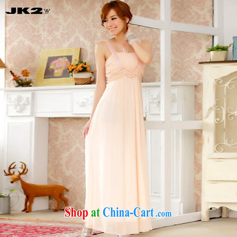 JK 2. YY aura surrounded the strap long dress manually staple Pearl banquet evening dress snow woven dresses pink are code 100 recommendations about Jack