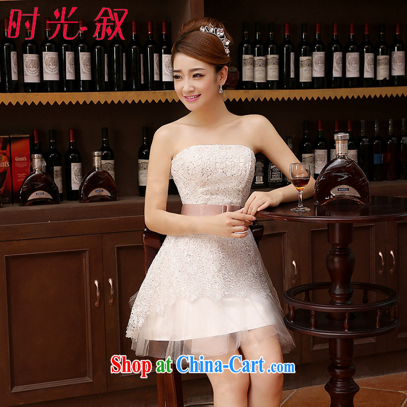Time his short wedding dress bridal toast serving Korean wiped chest strap small dress bridesmaid clothing dress 2015 new summer girl lace evening dress white XXL