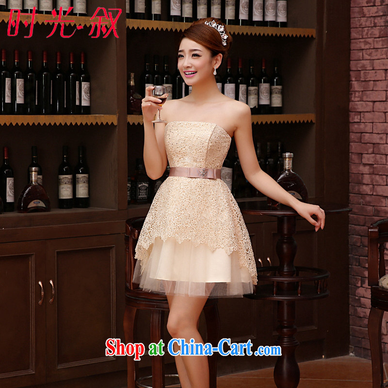 Time his 2015 new Korean bare chest strap small dress sister bridesmaid serving short married women serving toast bare pink dress graduation dress champagne color XXL