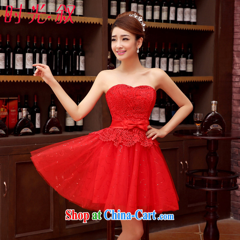 Time his bride's wedding dresses small erase chest strap wedding toast serving modern red bridesmaid service 2015 new Korean dress dress uniforms red XXL
