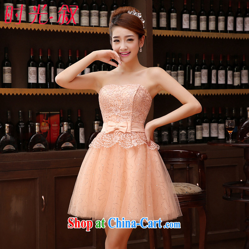 Syria Time bridesmaid dress new dress short bridesmaid service 2015 Korean version with bare chest small dress dress wedding bridal toast serving female bare pink XXL