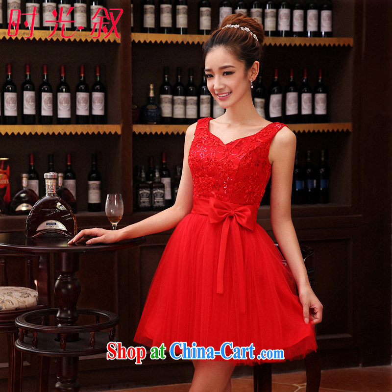 Time his wedding dress female bridal toast clothing parquet drill double-shoulder V collar short red small dress shaggy dress dresses evening dress 2015 new shaggy dress swing XXL