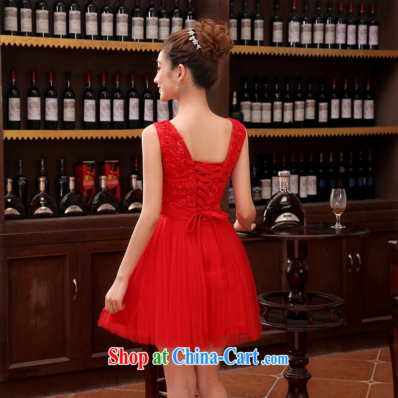Time SYRIAN ARAB wedding dress female bridal toast clothing parquet drill shoulders V collar short red small dress shaggy dress dresses evening dress 2015 new shaggy dress XXL before that time, and shopping on the Internet