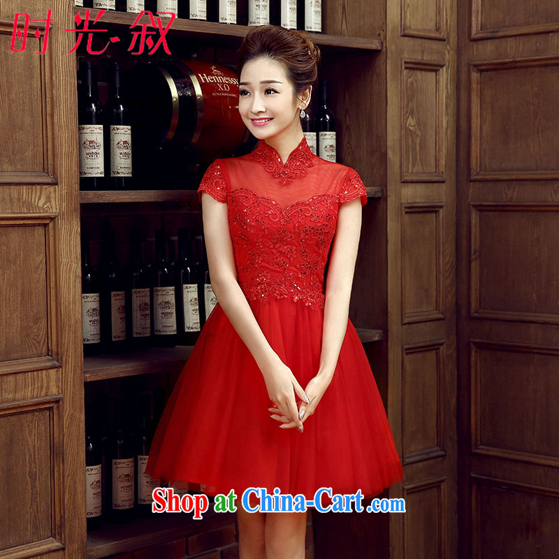 Time Syrian arab red bridal toast service 2015 new stylish package shoulder short, Shaggy dress graduated from the wedding dress the wedding banquet wedding dress summer red XXL
