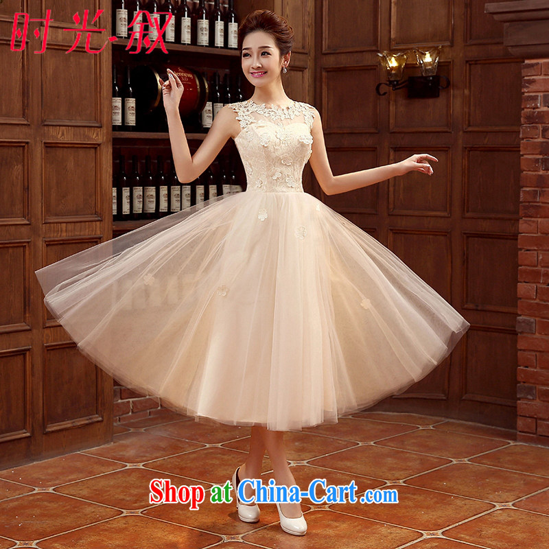 Time Syria 2015 Korean version champagne color bridesmaid serving small dress bridesmaid dress dress wedding dress bridal toast serving evening dress bridesmaid's sister dress champagne color XXL