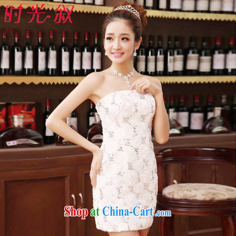 Time his bride's toast clothing Evening Dress 2015 new packages and wiped his chest red short wedding dress wiped his chest sexy night show service evening dress girls white XXL