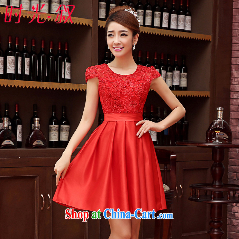 Time his bride toast wedding service 2015 New red short bridesmaid clothing Korean Beauty the wedding dress package shoulder small dress short skirt dress red XXL