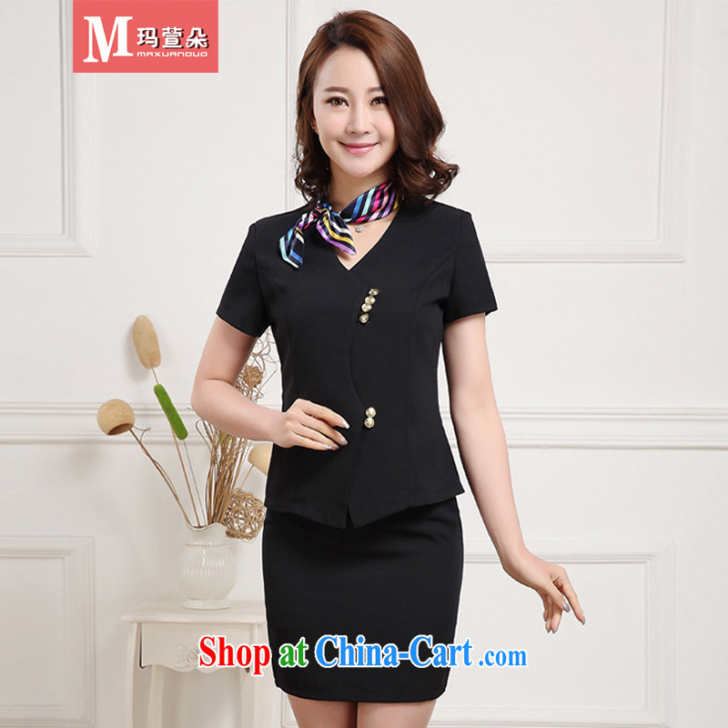 Margaret Xuan flower 2015 summer New Career Package female Korean Beauty short-sleeved small suit skirt set OL temperament career dress business black XXL