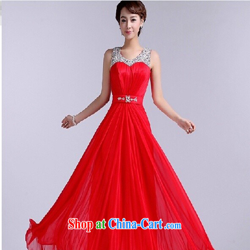 Modern Korean bridal bridesmaid dress bridal toast serving red zipper gown Red. Do not return does not switch