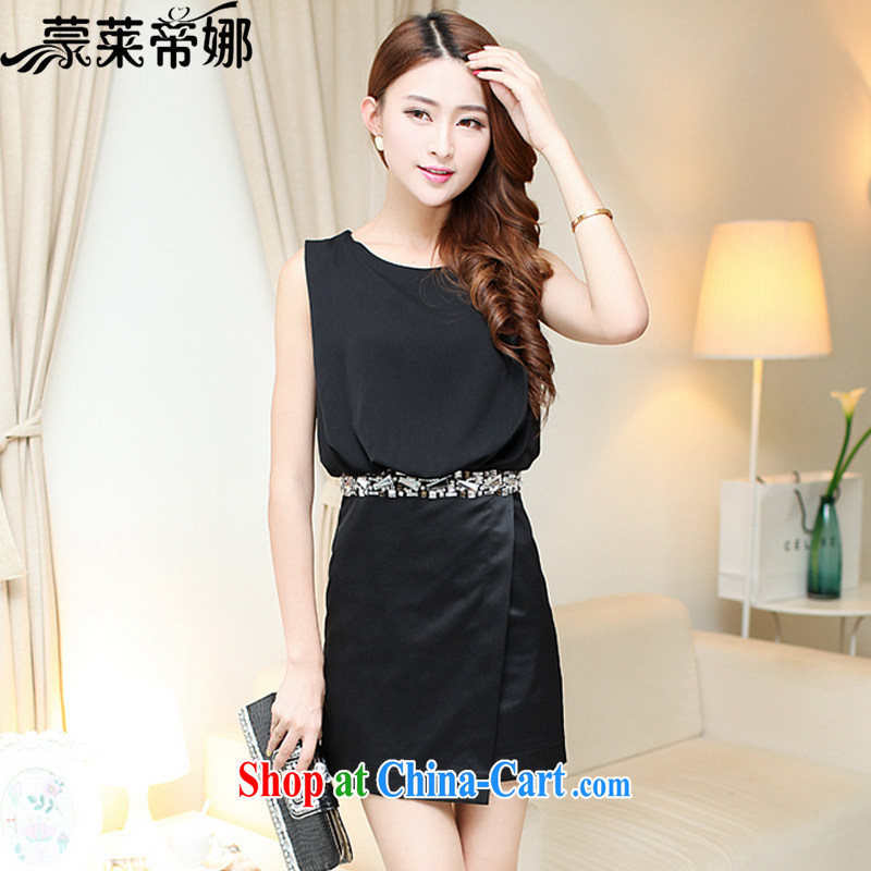 Tony Blair, in Dili, 2015 Korean spring and summer new female temperament beauty nails Pearl sleeveless white snow-woven dresses dress skirt 625 black XL