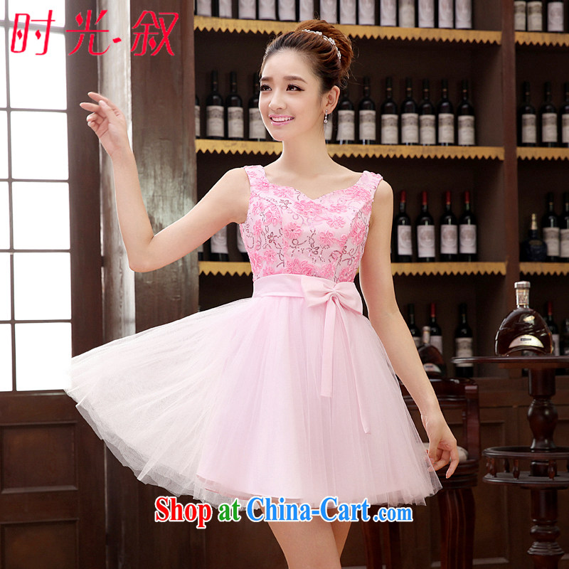 Time SYRIAN ARAB wedding dresses bridesmaid toast serving serving wedding dress banquet the wedding dress 2015 new short beauty sister dress the wedding dress skirt pink XXL
