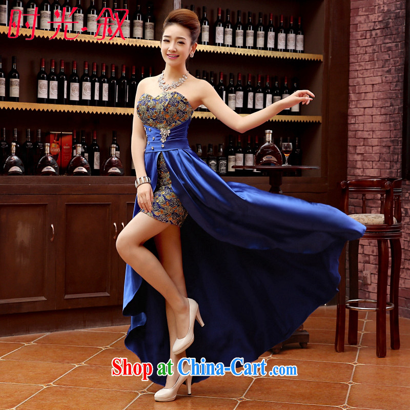 Time his Evening Dress 2015 new married women serving toast royal blue towel chest stylish short before long moderator dress Evening Dress dress long blue XXL