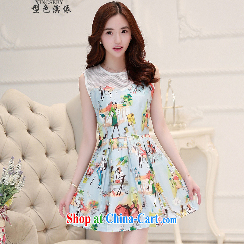 Type color bin in accordance with the 2015 summer new sleeveless beauty lady temperament and 3 three-dimensional D dresses apricot XL