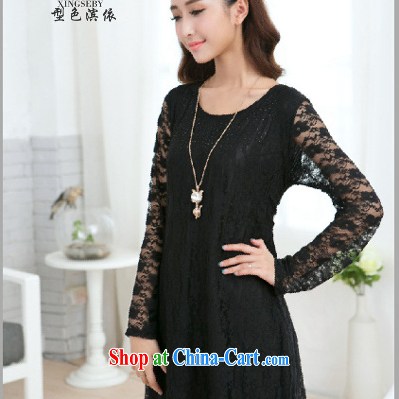 Type color bin in accordance with the 2015 new 200 plus fat lace snow woven loose video thin large code mm thick dress black large code XXXXL