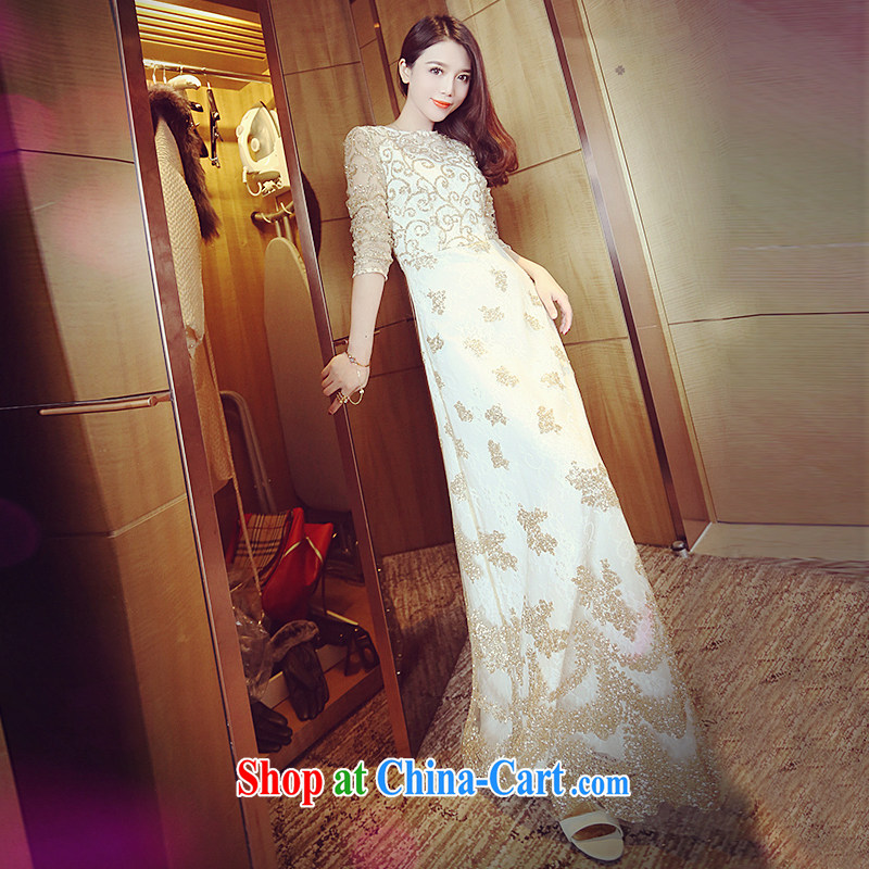 The left long-term 2015 summer luxury of Yuan Palace, cultivating graphics thin lace dress retro dress long skirt goddess, champagne color L