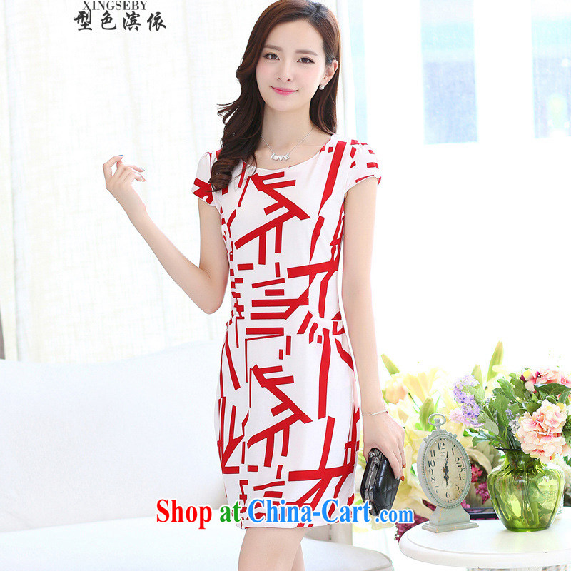Type color bin in accordance with the 2015 summer new big round-collar cultivating short-sleeved stamp dresses red 3XL
