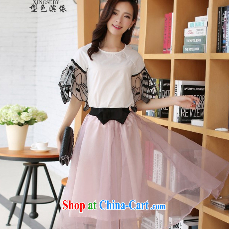 Color-bin in accordance with the 2015 Korean version Two-piece snow-woven dresses small fragrant wind butterfly cuff dress style kit skirt picture color XL