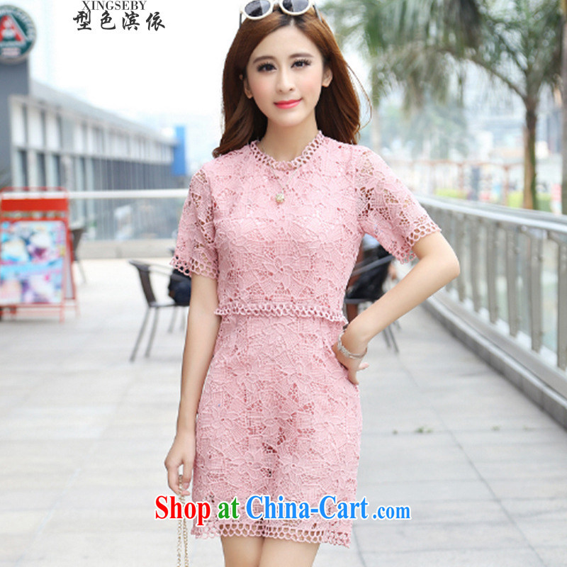 Type color bin in accordance with the 2015 new summer decoration, graphics thin lace dresses pink Openwork round-collar dress pink L